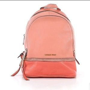 Michael Kors Coral Pink Pebble Leather Backpack